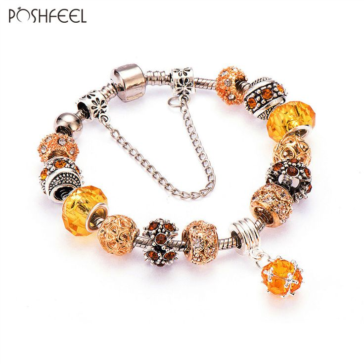 Poshfeel Round Charm Bracelets & Bangles Gold Bracelets For Women Diy Pulsera Famous Brand Jewellery Mbr170141