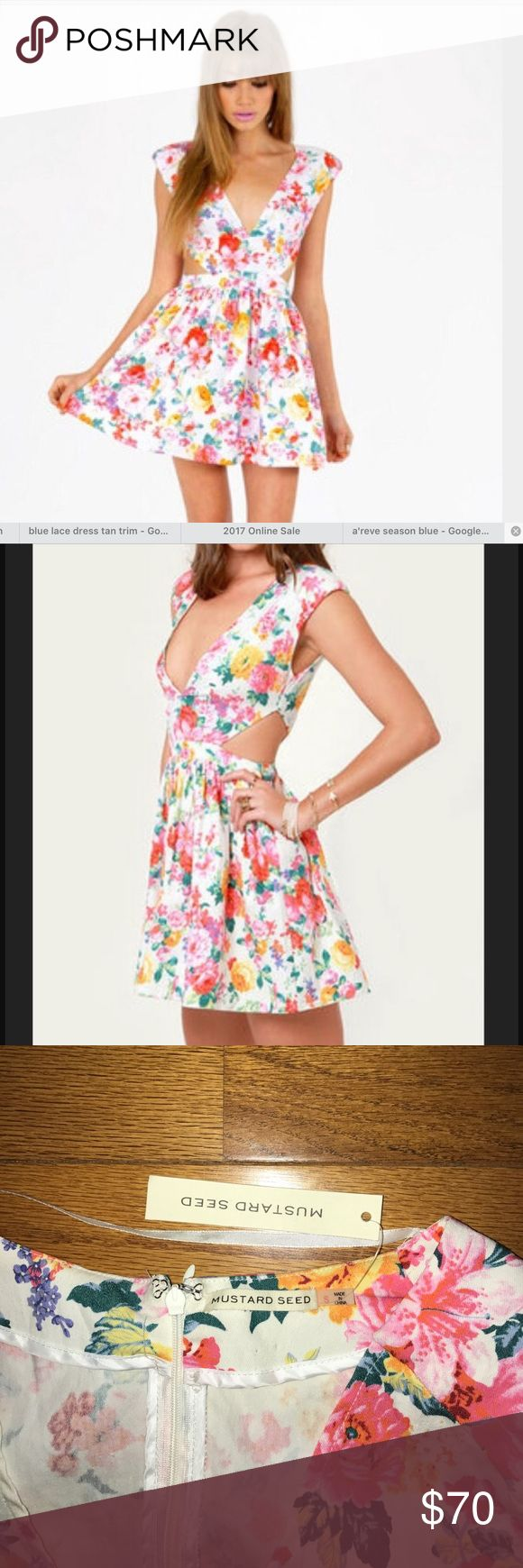 🌸🌸NWT FLORAL CUT-OUT DRESS by MUSTARD SEED🌸🌸 NWT WORN ON VANDERPUMP RULES! Mustard seed floral cut out dress. SOLD OUT!! Padded shoulders lead into a sexy, deep V neckline framed by angular open side cutouts, and a banded waist breaks into a full skirt with layers of tulle underneath. Hidden back zipper/hook clasp. Skirt is lined. Model is wearing a size small. Shell: 60% Cotton, 40% Polyester. Polyester lining. Hand Wash Cold. Imported. Waist 13 inches flat, length 30 inches flat, bust…