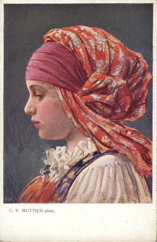 Muttich Artist Signed Colorful Headdress Czechoslovakia Nice Postcard   eBay