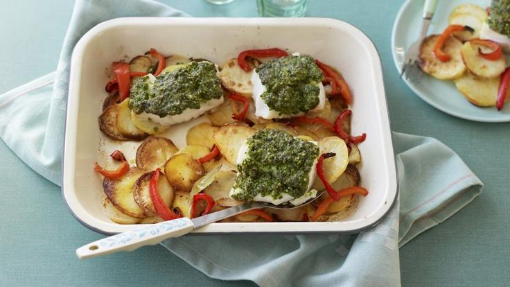 Cod with pesto, roast potatoes and peppers traybake
