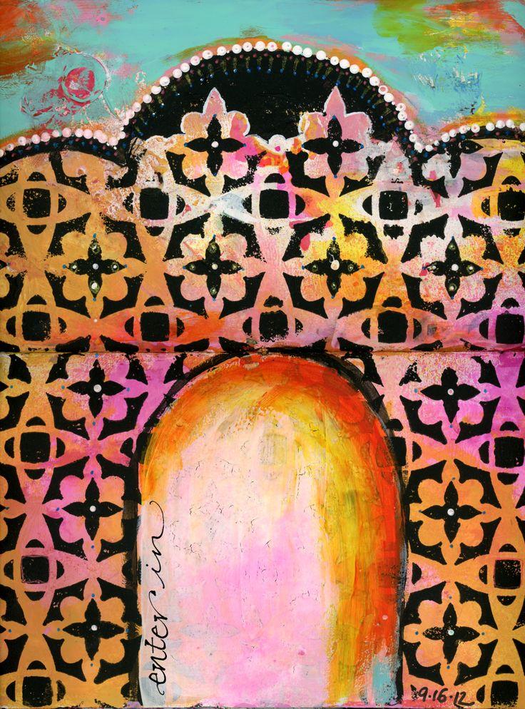 www.BananaCurlGirl.com - Art journal page - mixed media,stencils, calligraphy