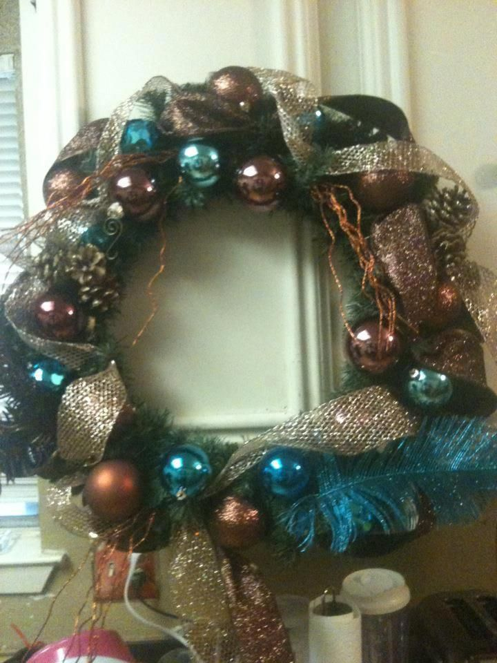 My chocolate and blue Christmas wreath I used brown and blue