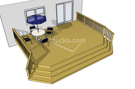 28 sizes of this deck plans style to choose from.  Clipped corners with cascading stair case is an economical choice.  Download any or all of the 28 deck plans for free today.