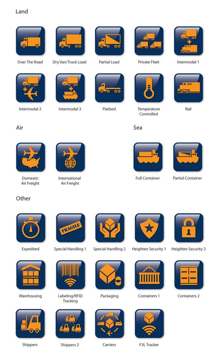 Icon designs for US logistics company. www.tonyjohnsoncreativedesign.co.uk