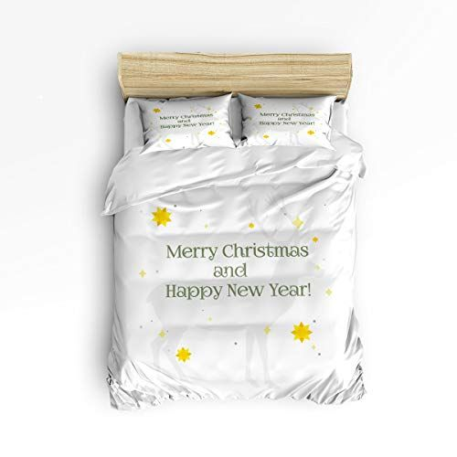 4 Piece Merry Christmas Theme Duvet Cover Twin Size Bedding Set Includes 2 Pillow Shams Ultra Soft Hypoallerg Christmas Bedding Soft Bed Sheets Comforter Cover