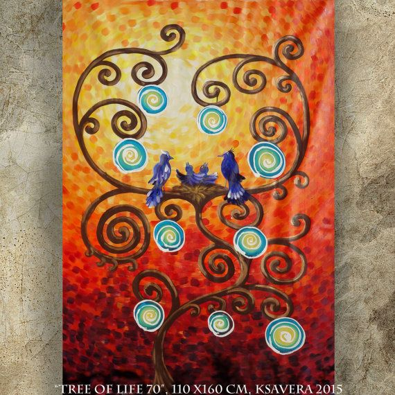 PAINTING GIFT for mom of 2 children nest on the TREE of LiFE Large orange 110x160 cm Red Original extra large wall art unstretched canvas by KsaveraART #TrendingEtsy