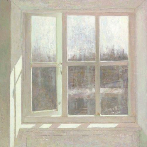 Jan Van Der Kooi. bedroom window - 2009 - oil on panel - 54 x 54 cm