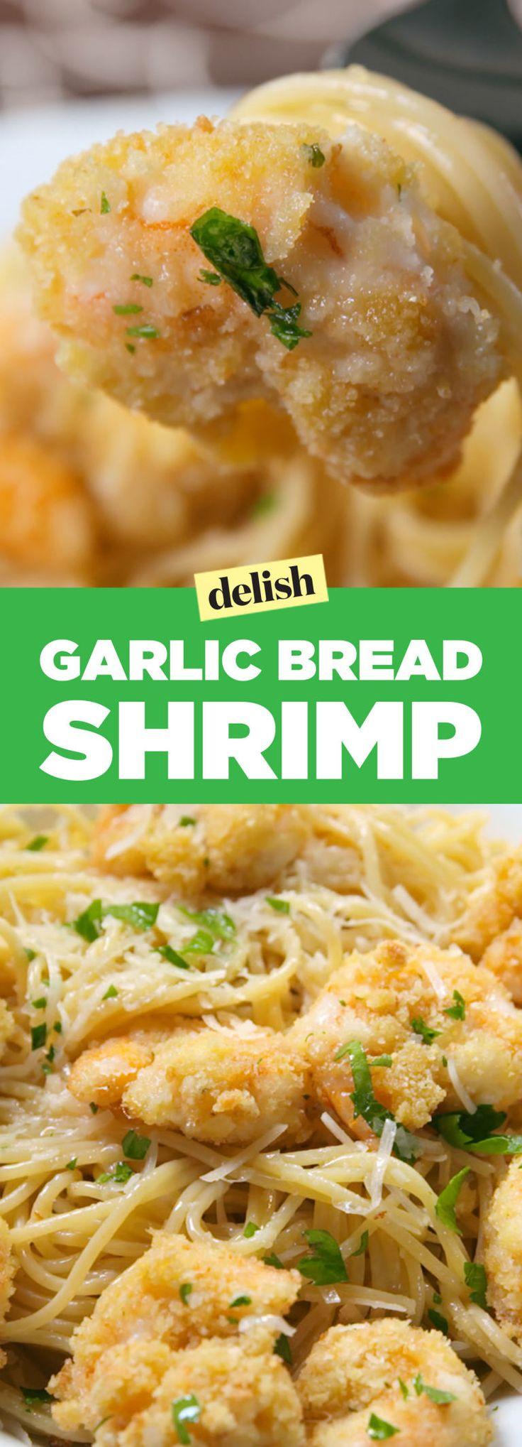Garlic bread shrimp uses the most amazing frozen garlic bread hack. Try it ASAP! Get the recipe on Delish.com.
