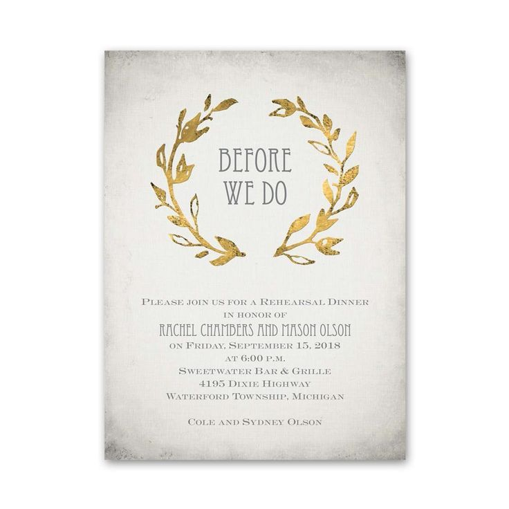 Leaves of Gold - Petite Rehearsal Dinner Invitation ...