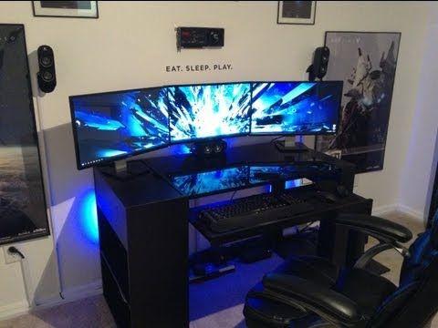 PC Gaming Setup!!! 5760 X 1080 3 Monitors w nvidia surround (1080p video)