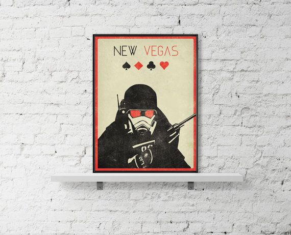 Fallout New Vegas Inspired Art Poster Size A3 by BaydleCreative
