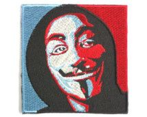 """Anonymous Guy Fawkes V Hacker Mask Iron On Embroidered Patch 3"""""""