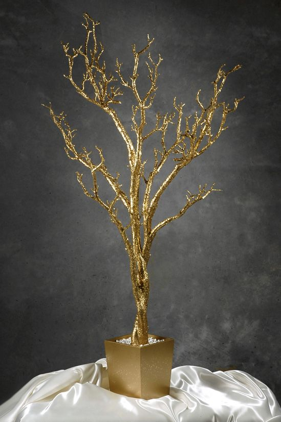 Gold Manzanita Tree Artificial 4 Feet Potted  -- I want this on my buffet table with black birds perched on it.