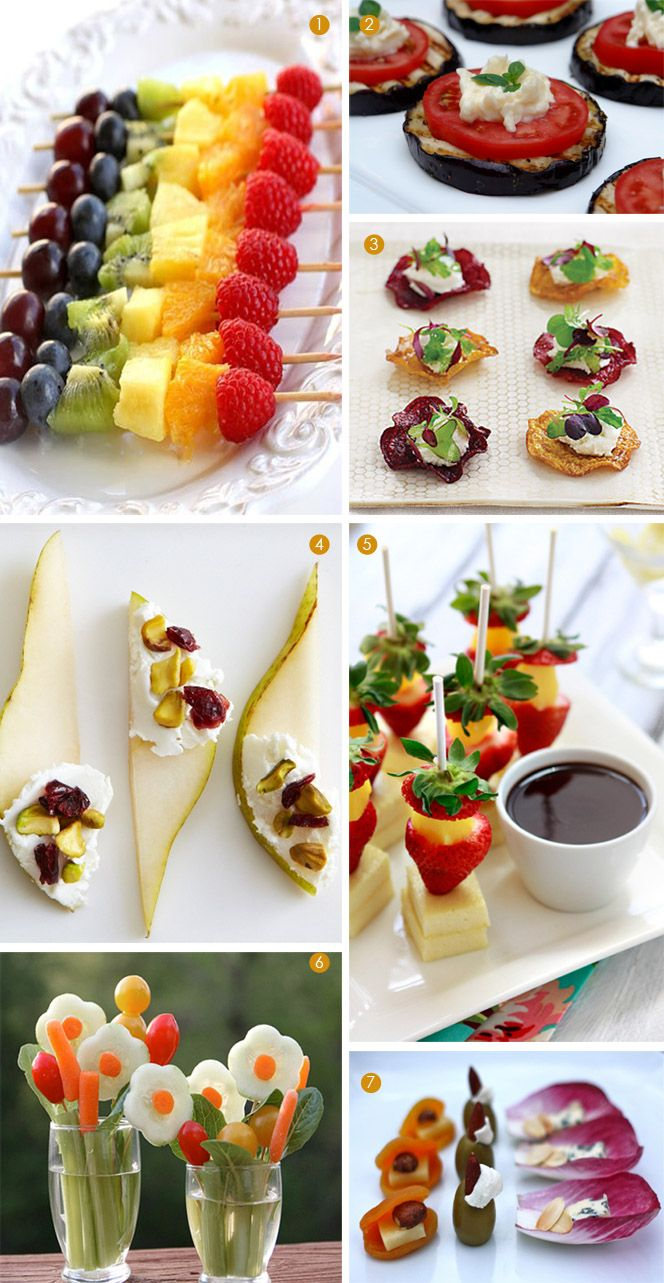 Healthy Mini Appetizers 1. Rainbow Fruit Kabobs, Shabby Chicks 2. Eggplant Appetizer, Laylita 3. Beet and Goat Cheese Salad Appetizers, Martha Stewart 4. Pears With Goat Cheese, Sweet Potato Chronicles 5. Strawberries and Cheese Kabobs, Frost Me 6. Veggies, LivingLoCurto 7. Veggies, Simple Bites