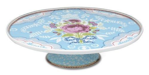 PiP Studio Taartplateau blauw In meerdere kleuren Doorsnede: 30,5 cm Met vrolijk dessin Materiaal: Hoogwaardig porselein. Pip servies kopen