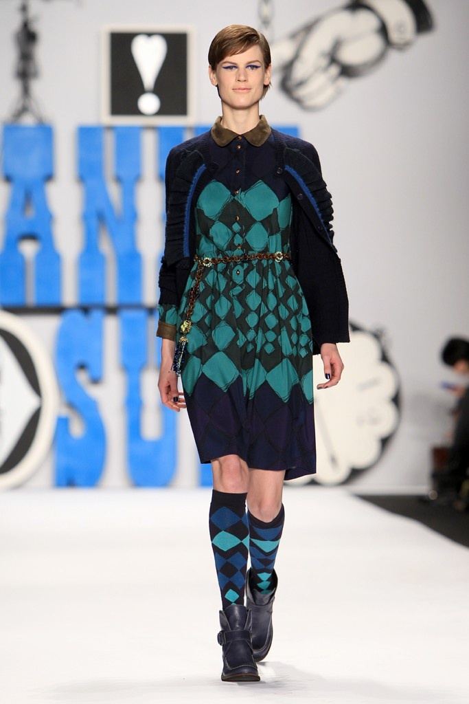 Anna Sui --- I like the fun preppy feel of this argyle-ful outfit.