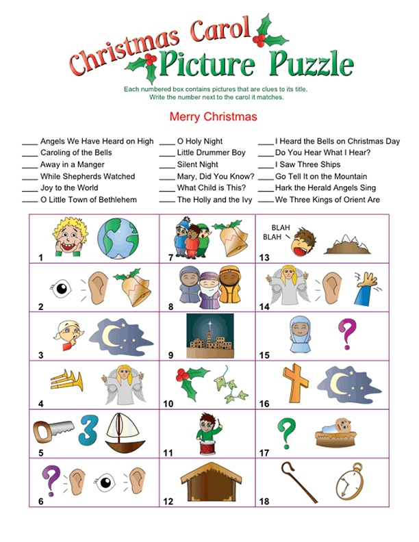 Christmas Carol Picture Puzzle