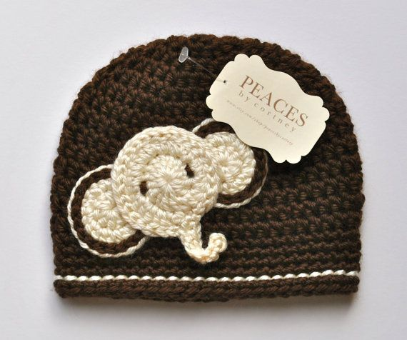 Baby Hats - Brown & Ivory Elephant Baby Beanie Hat (Baby Gifts Baby Beanie Newborn Hat Crochet Baby Hat Newborn Hats Baby Beanies)