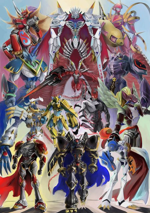 The 13 Royal Knights Kentaurosmon, Jesmon, Crusadermon, Ulforceveedramon, Examon, Craniamon, Dynasmon, Magnamon, Gankoomon, Leopardmon, Gallantmon, Alphamon, Omnimon.