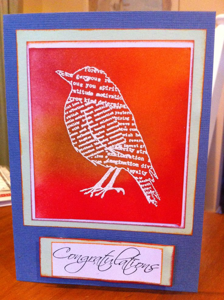 Emboss resist bird from Kaszazz Inspirational Flight set, just love it.