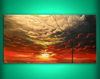 art painting abstract landscape tree cloudscape painting original painting acrylic 24 x 48