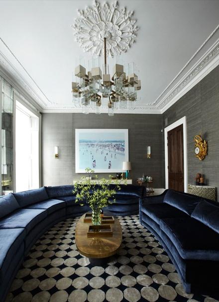 peter mikic - chandelier - sofa - floor pattern - wallcovering
