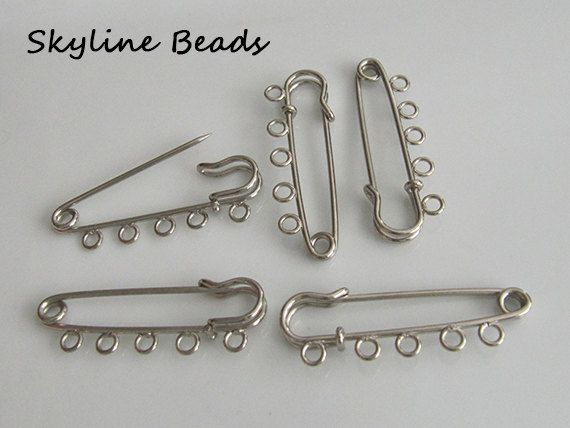 Kilt Pin with 5 Eye Holes for hanging beads and by SkylineBeads, $2.75