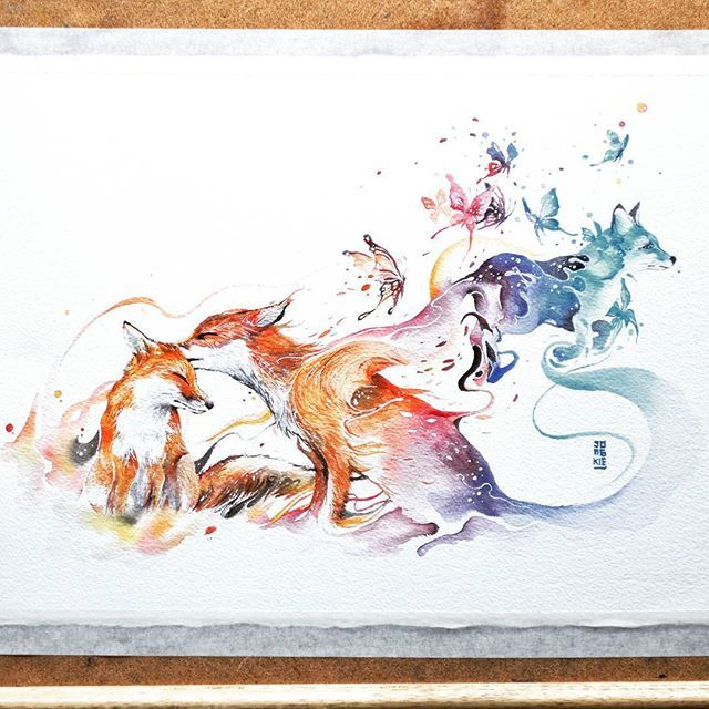 """Last Kiss"" Watercolor on Arches Aquarelle size 28x38cm 300gsm. fox watercolor watercolour"
