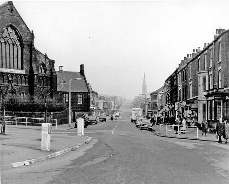 Ellesmere Road at the junction with Burngreave Road, showing Wicker Congregational Church