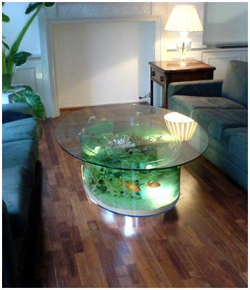 Coffee Table Fish Tank - Bar Aquarium. This would be so awesome. The kids would love it. It's be a pain to clean though!