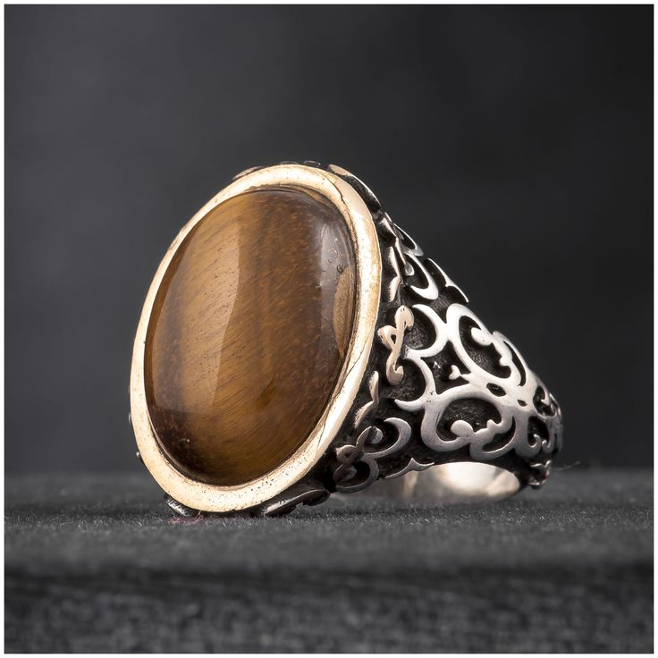 Turkish Mens Ring Oriental Tiger's Eye 925 Sterling Silver - J121