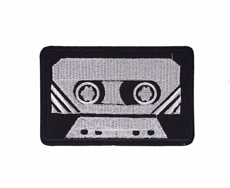 """Black Retro Cassette Tape Embroidered Patch 3.75"""" DIY Iron on Applique Boombox #Embroidered"""