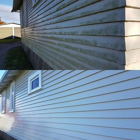 Before and After of a house wash done by Wash Rite www.washrite.co.nz
