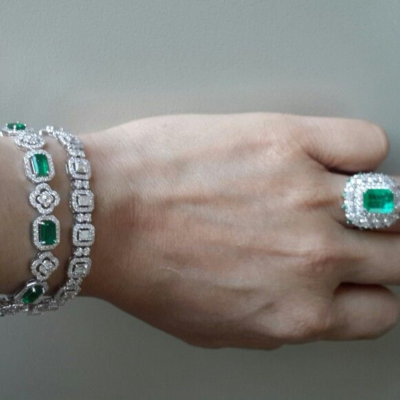 Diamonds & emerald bracelets