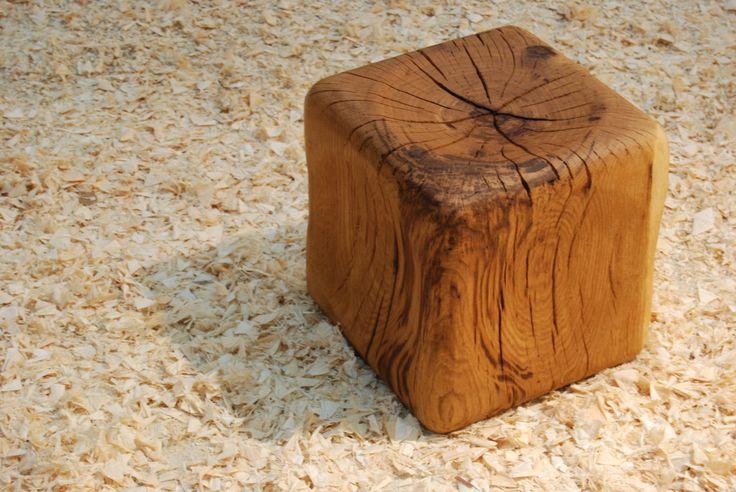 Hand sculpted oak stool by Brut Concept