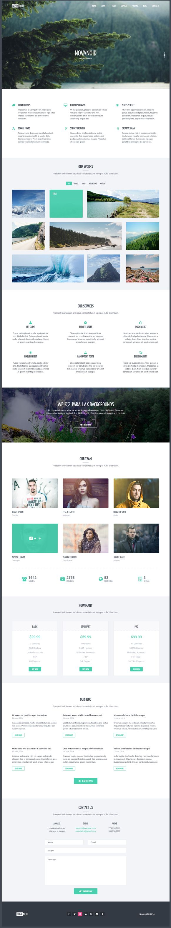 Novanoid – it's simple one page HTML template based on #Bootstrap 3. Package include 2 #HTML pages and 2 fully layered PSD files. Also #template has structured code.