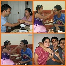 The rituals of Raksha Bandhan (from top left): 1. Tie the rakhi, 2. tilak (prayer and promise), 3. She feeds him with her hands, 4. Hugs and gifts.