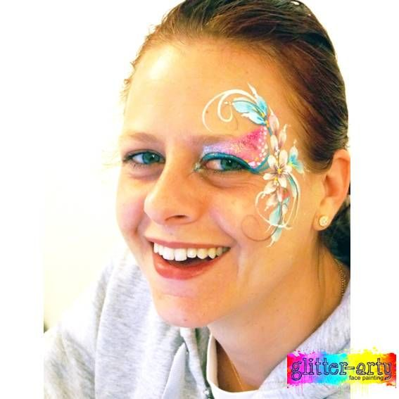 Sparkly Pretty flower eye design - arty make-up for adults by Glitter-Arty Face Painting, Bedford, Bedfordshire
