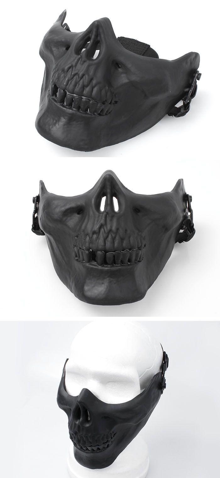 EbairSoft Airsoft parts & Tactical Gear - G M03 Cacique Skull HALF Mask ( Black ) HMG0167