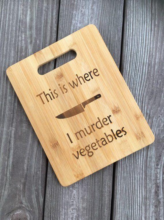 vegan gift, cutting board, vegetarian gift, bamboo cutting board, this is where I murder vegetables, funny cutting board – Cutting board design