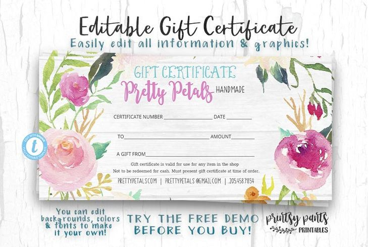 Editable Gift Certificate, Pretty Petals Voucher, Printable Gift Cert, Gift Certificate, Instant Download, Business Templates, Shop Voucher by PrintsyPants on Etsy