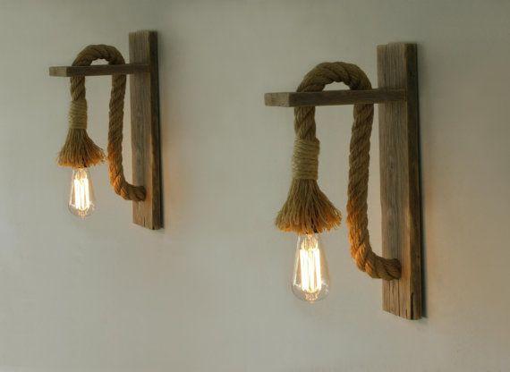 Paire de bougeoir bois régénérée avec une corde corde murale