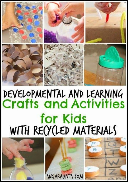 Developmental and learning activities and crafts for kid using recycled materials. TONS of ideas here.
