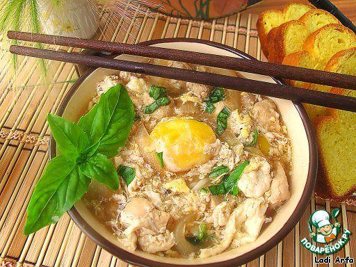 Японский суп- oyakodon ингредиенты