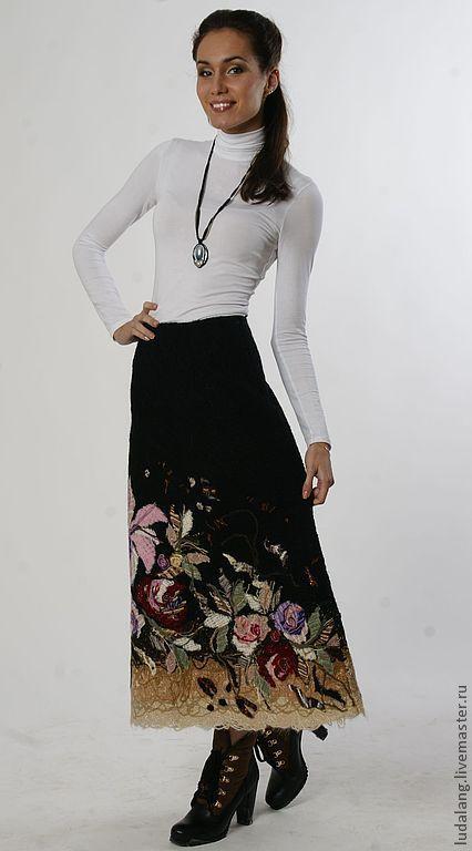 """Купить Юбка валяная """"Зимний букет"""" - юбка длинная, юбка теплая, зимняя юбка"""