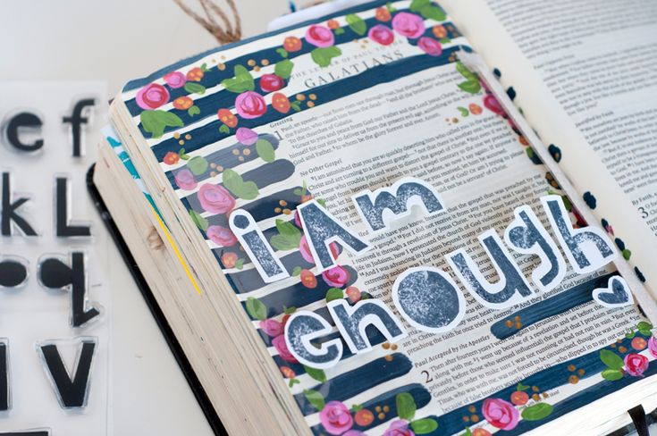 Jess Robyn is sharing with us her epiphany about being enough and living life for God and not others and sharing this gorgeous mixed media journaling bible page she created