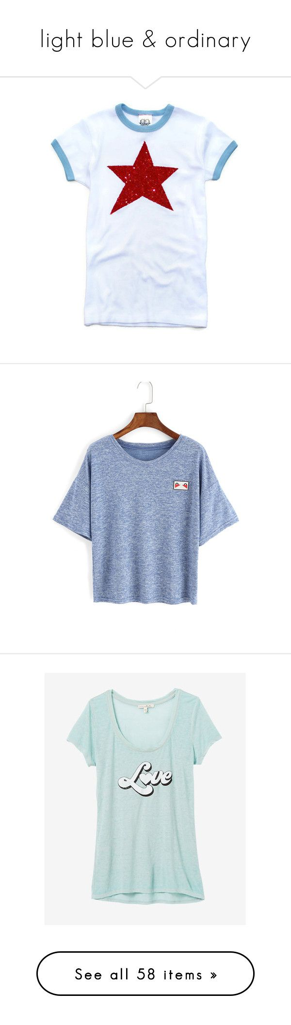 """""""light blue & ordinary"""" by chakayuko ❤ liked on Polyvore featuring tops, t-shirts, silver, women's clothing, americana t shirts, silver t shirt, sequin t shirt, blue and white checkered shirt, red white and blue shirts and blue"""
