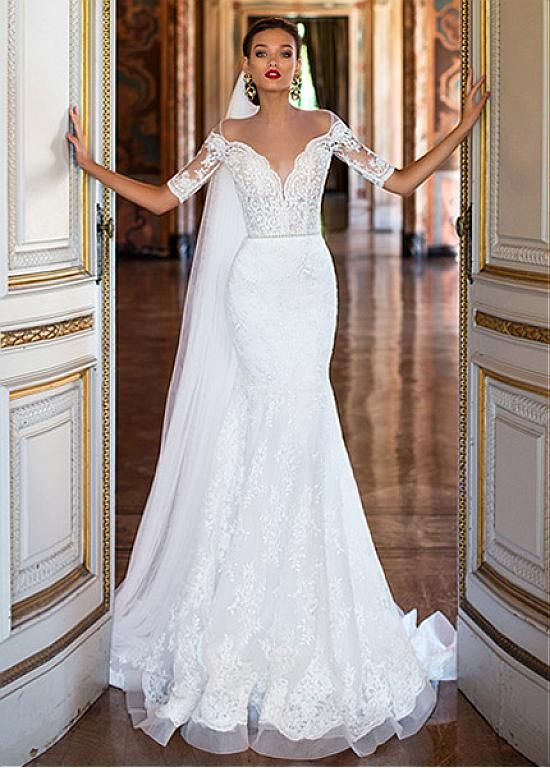 Buy discount Glamorous Tulle & Satin Bateau Neckline Mermaid Wedding Dresses With Lace Appliques at Dressilyme.com