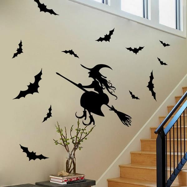 Creative Halloween Haunted House Glass Witch Wall Stickers