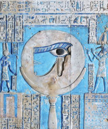 October 2012 Materials through the ages: A painted relief of the sacred eye of Horus at the ancient Egyptian temple of the goddess Hathor at Dendera, Egypt.